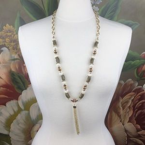 NEW with tags Sapphire Boho Tassel Beaded Necklace